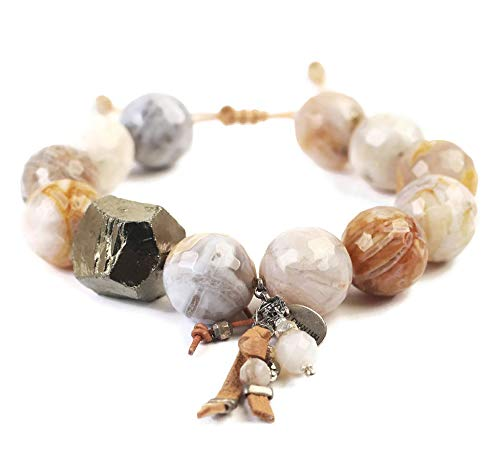 Chan Luu Large African Opalescent Mineral Stone Mix Beaded Bracelet ()