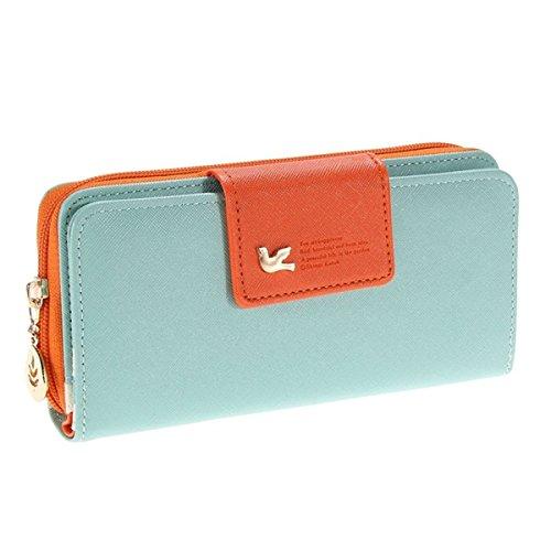 Augur Women's Multi-card Position Two Fold Purse Long Zipper Wallet Handbag
