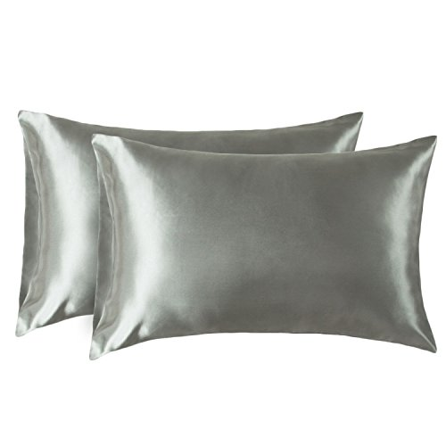 Bedsure Two-Pack Satin Pillowcases Set for Hair Cool and Easy to WASH King 20x40 Gray with Envelope Closure