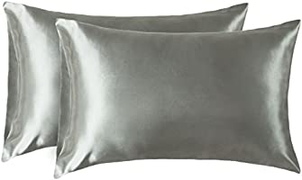 Bedsure Two-Pack Satin Pillowcases Set Hair Cool Easy to WASH Envelope Closure