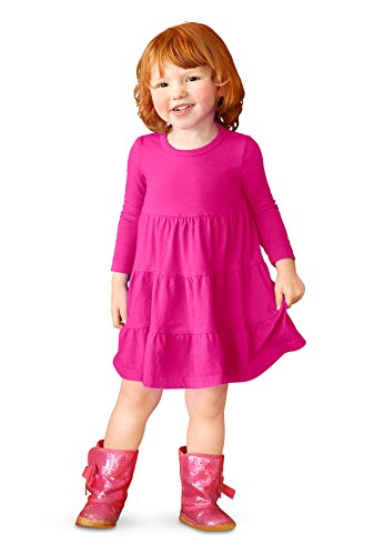 City Threads Little Girls' Cotton Long Sleeve Tiered Ruffle Dress, Hot Pink, 6 ()