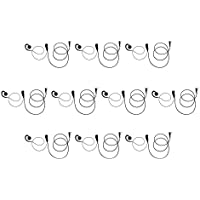 10 Pack Maxtop AEH3500-K2 Two Way Radio 2-PIN Swivel Black Headset Earpiece Mic for Kenwood TK-240 TK-320 TK-220 TK-208