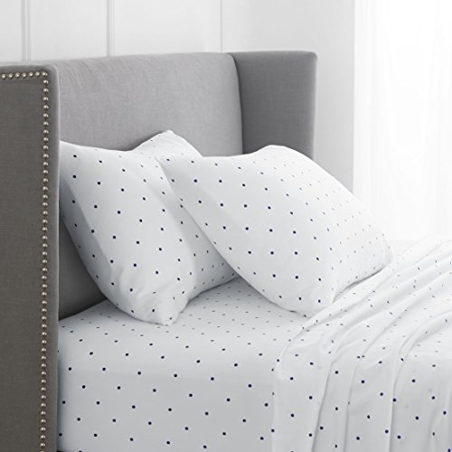 Pinzon 170 Gram Flannel Sheet Set – Cal King, Navy Dot