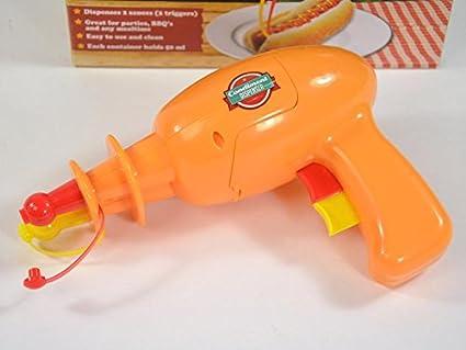 busduga en forma de pistola – Dispensador de salsa con 2 compartimentos separados – La Atención