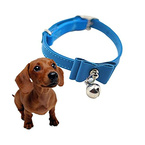 TAORE Small Dog Collar Cute Bow Bell Cat Collars Bell Collar (Blue) - Cat Collar Hardware