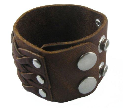 "1.8"" Wide Braided Design Brown Punk Rock Biker Leather Bracelet Bangle Bracelet Cuff Wristband for Men Women Boys Girls Unisex - Adjustable (LSB001)"