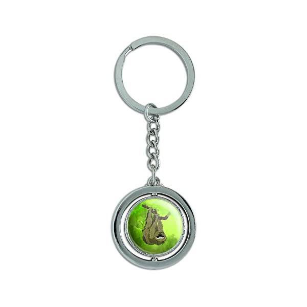 Sloth Watercolor Spinning Round Metal Key Chain Keychain Ring -