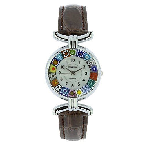 GlassOfVenice Murano Glass Millefiori Watch with Leather Band - Brown