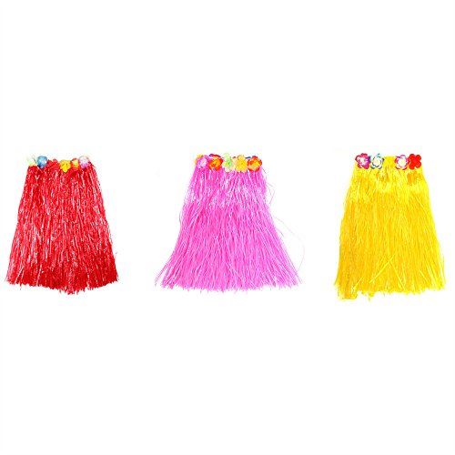 [Koogel 3 pcs Hawaiian Plastic Flower Grass Skirt, Hula Grass Skirt for Costume Party, Events, Birthdays,] (Hula Dancer Costume Diy)