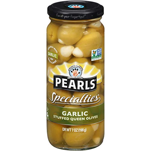Garlic Stuffed Olives - Pearls Specialties 7 oz. Garlic Stuffed Queen Olives, 6-Jars