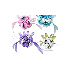 10PCS Wrist Corsage Bridesmaid Sisters Hand Flowers Artificial Bride Flowers for Wedding Dancing Party Decor Bridal Prom 12