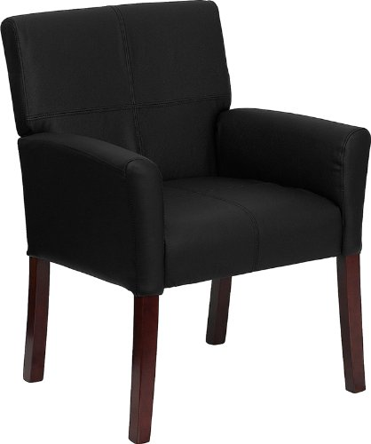 Flash Furniture Black Leather Executive Side Reception Chair with Mahogany (Lea Leather)