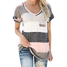 Q&Y Women's V-neck Striped Casual Short Sleeve T-shirt Blouse Tees Tops