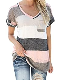Q&Y Women's V-neck Striped Casual Short Sleeve T-shirt...
