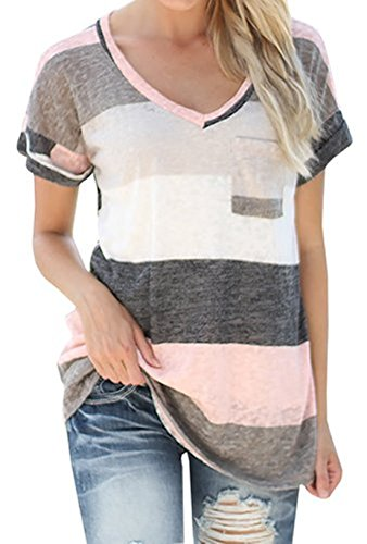 Q&Y Women's V-neck Striped Casual Short Sleeve T-shirt Blouse Tees Tops Grey L