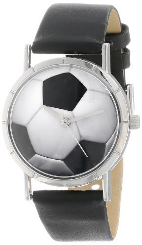 Whimsical Watches Kids' R0840007 Classic Soccer Lover Black Leather And Silvertone Photo Watch
