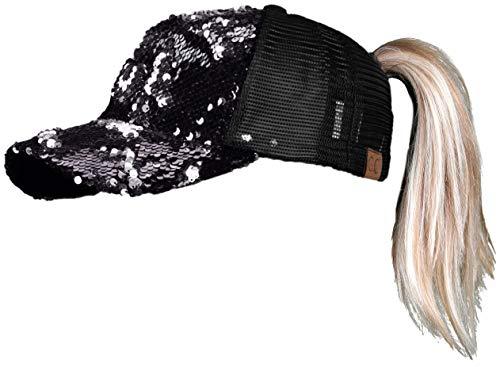 - H-209-MS-0601 Messy Bun Ponytail Hat - Sequin (Black/Silver)