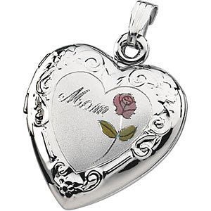 Mom Heart and Flower Locket in Sterling Silver by The Men's Jewelry Store (for HER)