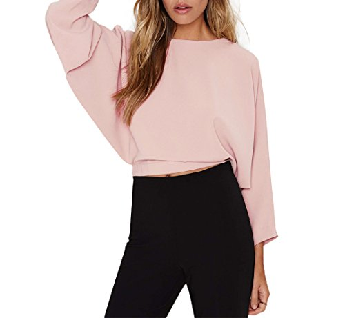 ASMAX HaoDuoYi Womens Solid Tie Back Crop Long Sleeve Tops T Shirt Pink