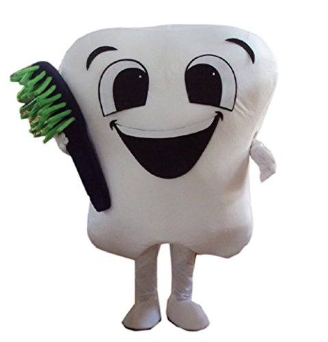 Alkem Tooth Mascot Costume Outfit for Dentist Advertising Adult Size (White) -