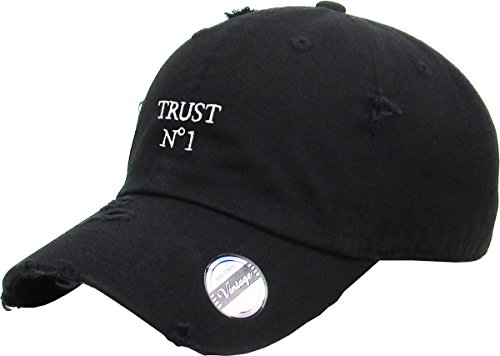 kbsv-055-blk-trust-no1-vintage-distressed-dad-hat-baseball-cap-polo-style