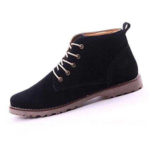 Gleader Nueva moda britanicos para hombre Casual de encaje gamuza Botines Mocasines Zapatillas de deporte Negro ( Tamano:43 )