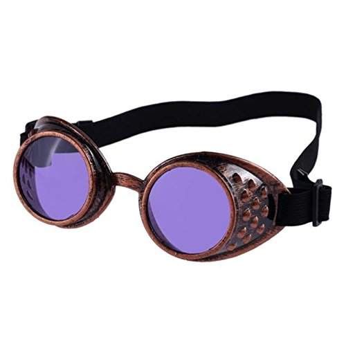 SODIAL(R) Goods Vintage Style Steampunk Goggles Welding Punk Glasses Cosplay£¨Red copper, Purple£© Purple£©
