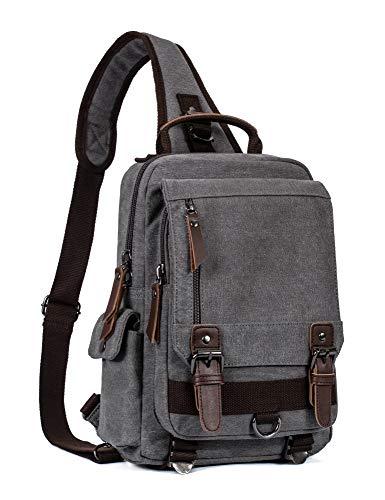 Leaper Canvas Messenger Bag Sling Bag Cross Body Bag Shoulder Bag Gray, M