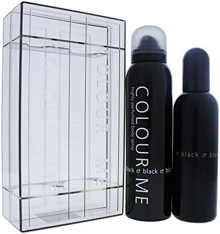 Colour Me   Black   Eau de Toilette and Body Spray   Fragrance 2 Piece Gift Set For Men   Woody Aromatic Scent   EDT Spray - 3 oz /  Body Spray - 5 oz