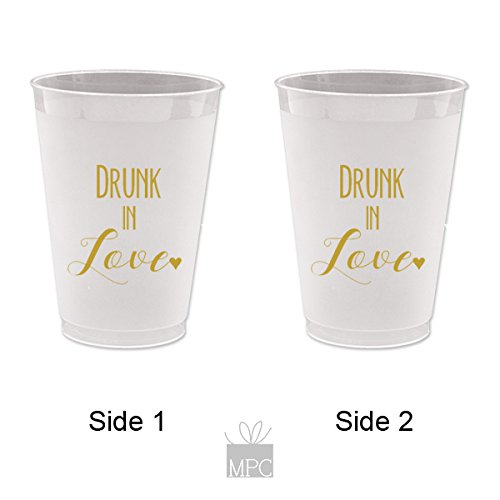 Wedding, Bridal, Bachelorette Frost Flex Plastic Cups - Drunk in Love