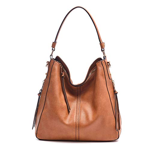(DDDH Vintage Hobo Handbags Shoulder Bags Durable Leather Tote Bags Crossbody Purses Bucket Bag for Women/Ladies/Girls(Camel new))