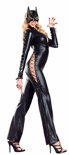 Cohaco Women's Side Lace Up Sexy Bodysuit Full Length Catsuit and Mask (Catwoman Outfits)