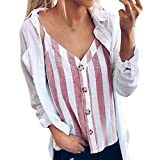 Women's Tank Tops Button Down V Neck Striped Loose Vest Casual Sleeveless Camisole (XL, Pink)