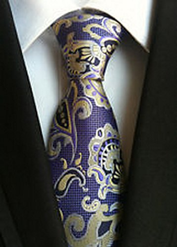 [MINDoNG Necktie Floral Paisley Purple Flowers JACQUARD WOVEN Men's Tie GAG # 33185] (James Bond Womens Costumes)