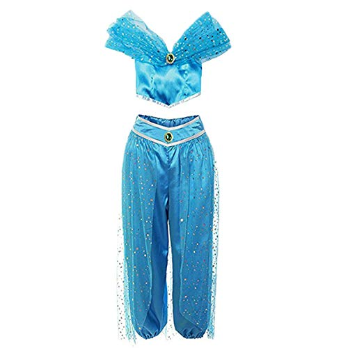 Women Aladdin Jasmine Princess Costumes Fancy Sequin Suit Dress Halloween Party Cosplay (L, Dark Blue) -