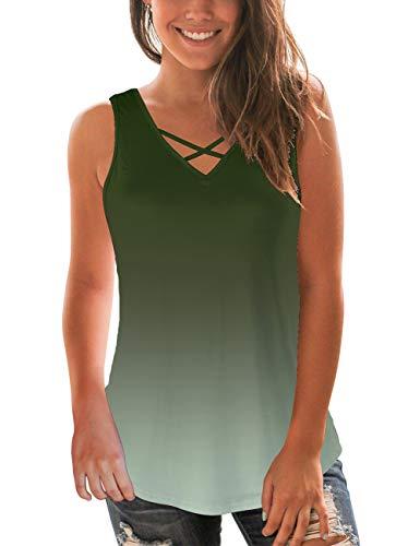 NIASHOT Women's Sleeveless T-Shirt V Neck Flattering Cute Summer Tees Omber Green S