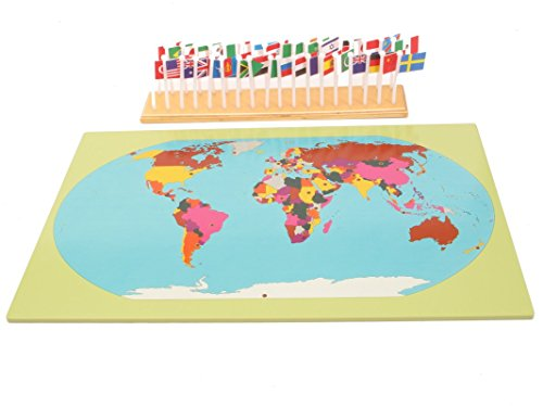 Montessori Early Childhood Educational Materials - Geography Flag Stand World Map with Flags by PinkMontessori