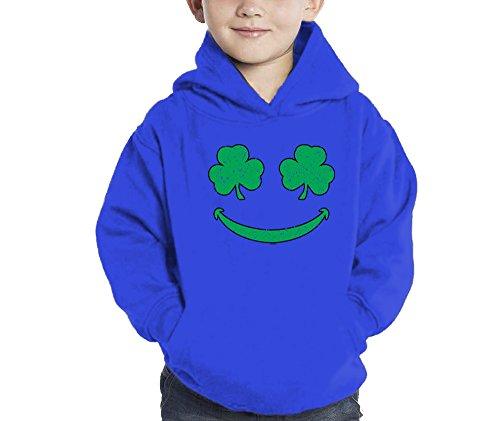 Toddler Little Boy Smiling Shamrocks - Clover - St Patricks Day Hoodie Sweatshirt (5/6, Royal Blue)