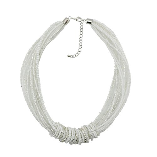 Bocar Chunky Statement Colorful Seed Beads Women Choker Collar Necklace (NK-10314-white)