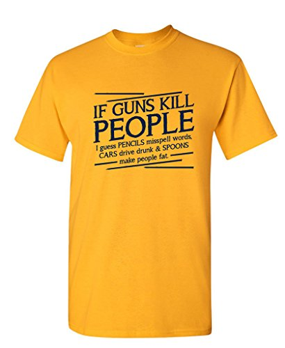 Guns Kill People, Pencils Miss Spell Words Political Funny T-Shirts L Gold (Funny T-shirt Yellow People)