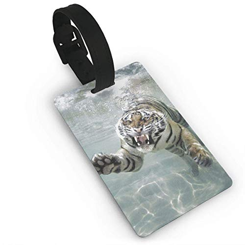 Luggage Tag Swimming Tiger Business ID Card Holder for Travel BaggageTags