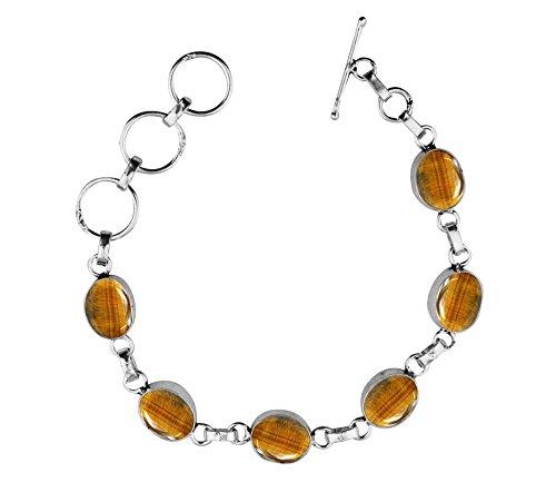 Genuine Tiger Eye 925 Sterling Silver Overlay Handmade Fashion Bracelet Jewelry