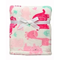 Baby Girl Safari Soft Blanket Lions, Elephants, Giraffes and Hippos