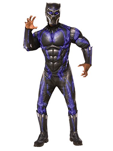 Rubie's Men's Deluxe Black Panther Muscle Chest Battle Suit Costume, As As Shown, Standard ()