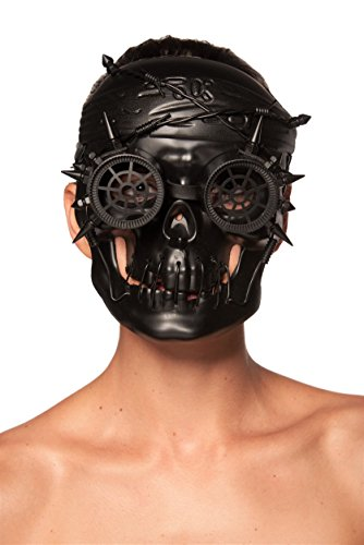 Antiqued Black Steampunk Skull Mask with Goggles and Spikes (Unisex; One Size Fits (Dead Burlesque Halloween Costume)