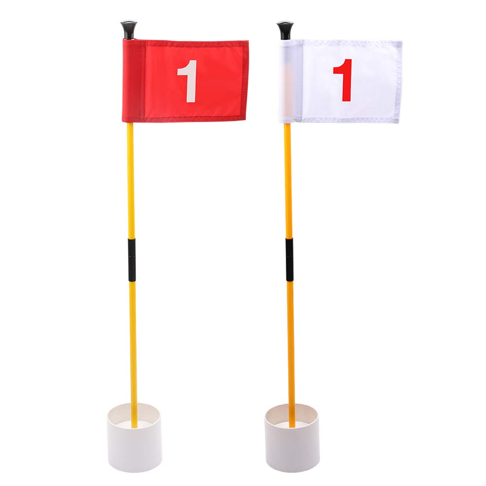 KINGTOP Practice Putting Green Flagstick, Portable Golf Pin Flags, 2-Section Design, Indoor/Outdoor, 2 Sets, Solid Red Flag and Solid White Flag, Both Numbered #1