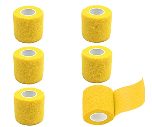 GouGou Self-Adhesive Tape Bandage Rolls Non-woven Ventilate Flexible Wrap for Soccer Basketball Sports Ankle Waist Knee Finger Elbow Ankle Support Tape 6PCS 2 in X 14.7 ft (Yellow Gauze)
