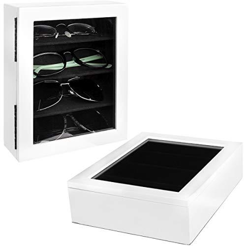 Concepts in Time (2 Pack) White Eyeglasses Holder Storage Boxes Lidded Cases Soft Black Felt ()