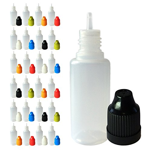 510 Central 15mL LDPE Plastic Thin Tip Dropper Bottles (25 Pack, Multi Color Caps)
