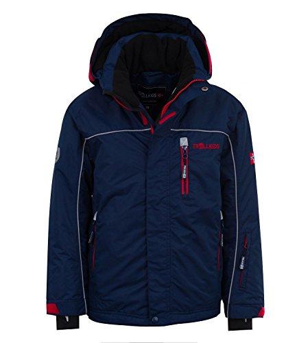 Trollkids Ski- / Schneejacke Holmenkollen XT, Marineblau / Rot, Größe 116